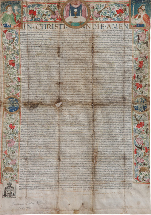 Papal edict of XVI century, foundation of Arciconfraternita del SS Sacramento of Mussomeli
